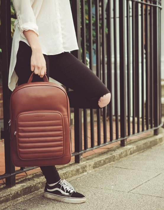 Chestnut Brown nappa Leather backpack
